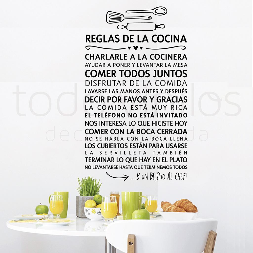 Reglas de la cocina todo vinilos for Todo para la cocina