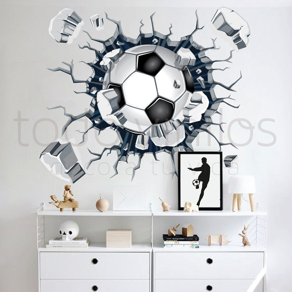 Vinilo decorativo pelota futbol rompe pared todo vinilos for Vinilos decorativos pared 3d